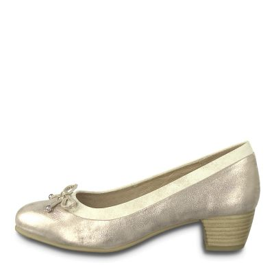 JANA női elegáns bőr cipő  8-22392-22 357 PEPPER/LT.GOLD2