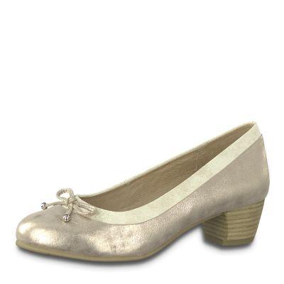 JANA női elegáns bőr cipő  8-22392-22 357 PEPPER/LT.GOLD