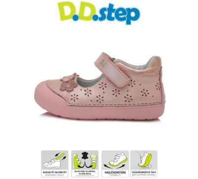 D.D.step bőr félcipő 066-916 PINK 20-25  méretben