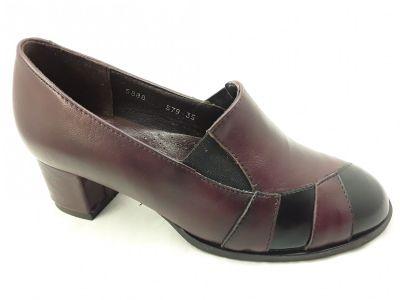 női zárt cipő 5888 bordó/bordó lakk