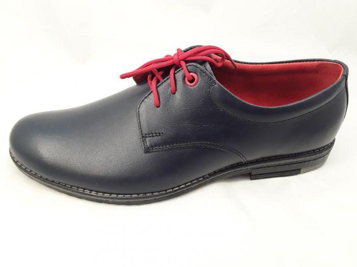 alkalmi férfi bőrcipő 129 sötétkék MINI large
