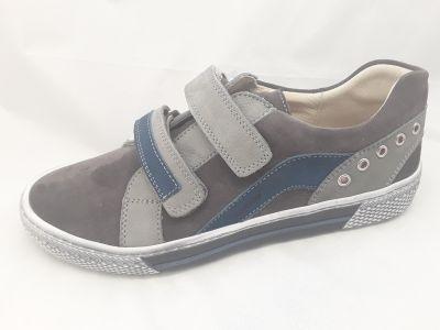 bőr félcipő 6181-100414 szürke/kék 2 tépős félcipő 36-40  méretben