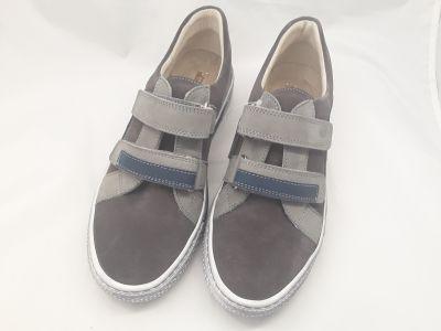 bőr félcipő 6181-100414 szürke/kék 2 tépős félcipő 36-40  méretben2