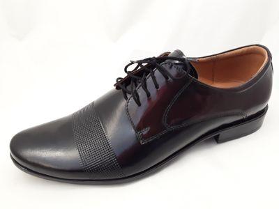 alkalmi férfi bőrcipő 064 CZARNY/BORDÓ