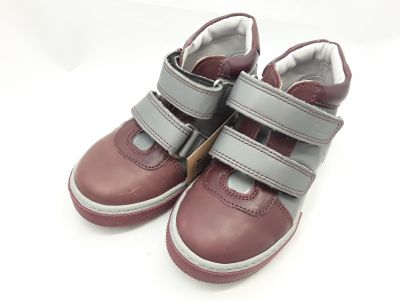 6018-001 ROCK bordó/szürke 2 tépős boka cipő 25-30 méretben2