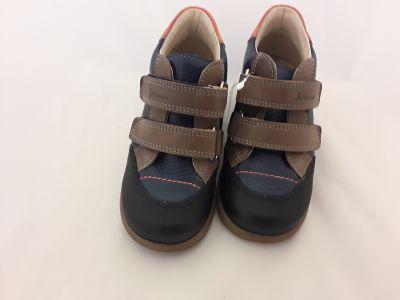 SZAMOS KÖLYÖK szupinált bőrcipő   1586-007192  antracit-kék-narancs   25-30 méretben2