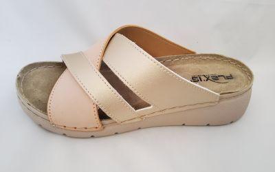 Bőr női papucs 10559 beige/platina sabbia