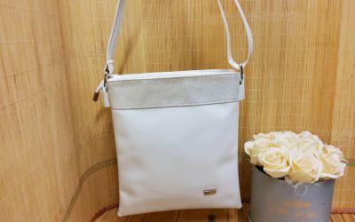 crossover jellegű test táska 1451 fehér lakk/ezüst