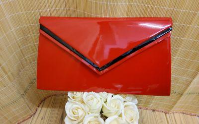 boríték táska 1289 piros lakk/fekete
