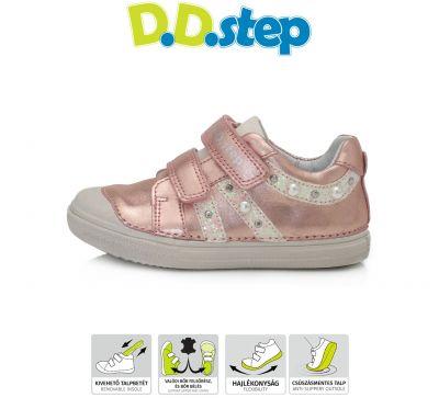 D.D.step bőr félcipő 049-68BM METALLIC PINK 25-30  méretben