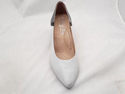 Szivárvány cipőbolt női elegáns bőr cipő LORENZO DI PAZZI 5428 ezüst antik/fekete/ antracit strukturált 650/39/10582