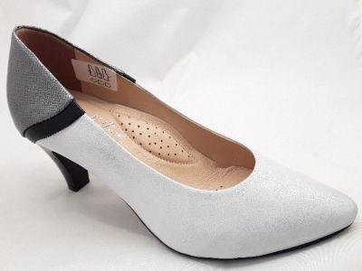 Szivárvány cipőbolt női elegáns bőr cipő LORENZO DI PAZZI 5428 ezüst antik/fekete/ antracit strukturált 650/39/1058