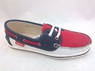 bőr félcipő 6121-502433 6429 piros-fehér-kék mokaszin 31-35