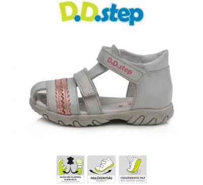 D.D.step bőr szandál AC625-716 LIGHT GREY